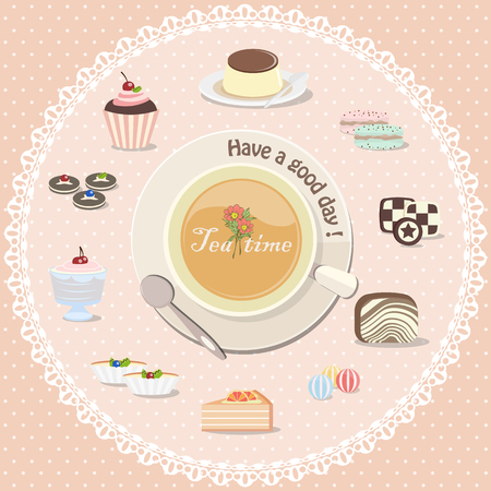 blueberry cheesecake: Tea time with dessert collection, including candy, cake, cookies etc.