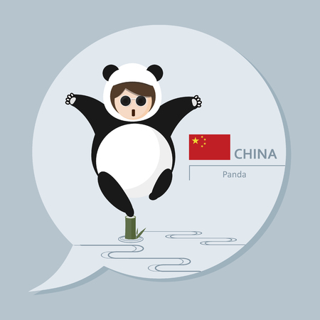 Symbol of China -. Panda and Kung Fu Its a part of Travel Collection Serial, every country has its own representing illustration.