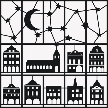 Window view of shadow night sky and house pattern in white background.