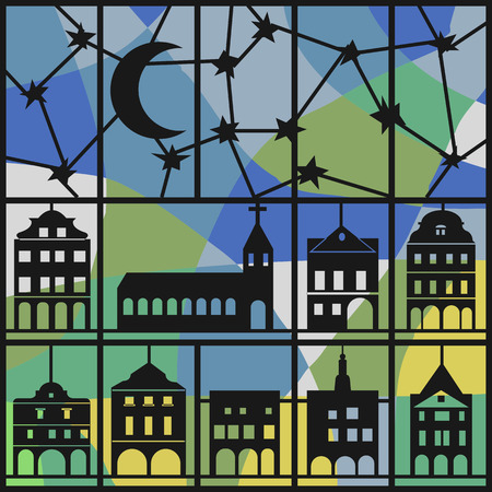 Window view of shadow night sky and house pattern.