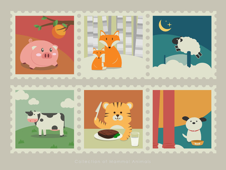 snow ground: A collection of mammal animals. Pig looking up an orange tree, foxes in the snow ground, Counting sheep, Cow standing on the grassland, Tiger eating steak, dog waiting for its meal.