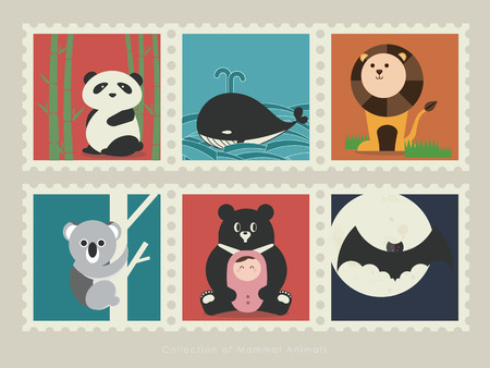 baby swim: . A collection of mammal animals Panda in the bamboo forest; Gray whale swim in the ocean; Lion on the grassland; Koala climb up the tree; Formosa black bear with little baby; Bat fly under the moonlight.