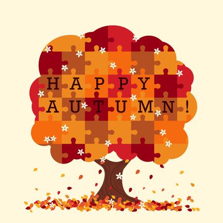 tree: Puzzle tree in autumn style. Illustration
