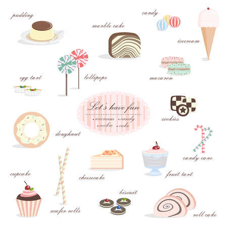 Dessert collection, including ice cream, candy, cake, cookies etc.