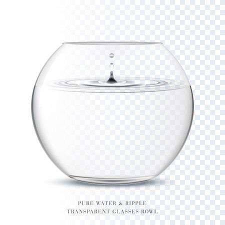 Ciotola di vetro trasparente e ondulazione acqua pura in backround trasparente Archivio Fotografico - 65741725