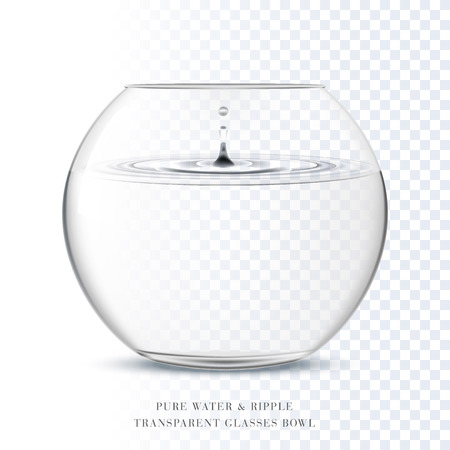 Transparent glass bowl and pure water ripple in transparent backround