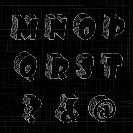 notations: 3D hand drawn uppercase alphabets and notations in black background.