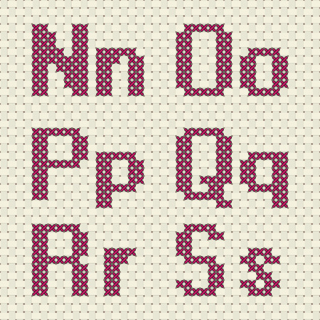 woven: Alphabet and number in cross stitch pattern. Illustration