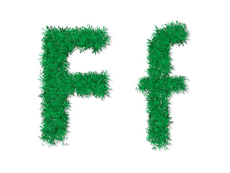 uppercase: Vector green grass uppercase and lowercase alphabet letter.