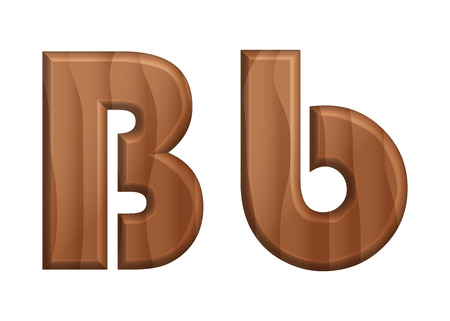 Nature wooden texture font-02 uppercase and lowercase alphabet