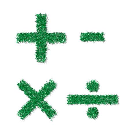 math symbols: Vector green grass math symbols
