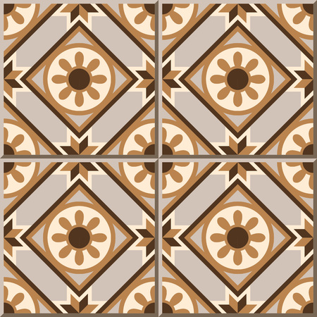 Vintage seamless wall tiles of round flower geometry. Moroccan, Portuguese.