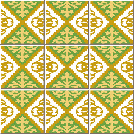 portuguese: Vintage seamless wall tiles of jagged diamond check. Moroccan, Portuguese.