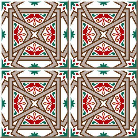 cross bar: Vintage seamless wall tiles of cross bar flower. Moroccan, Portuguese.