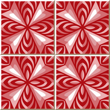 rhomb: Vintage seamless wall tiles of red rhomb kaleidoscope. Moroccan, Portuguese.