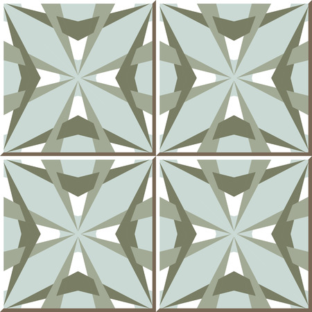 Vintage seamless wall tiles of star geometry kaleidoscope. Moroccan, Portuguese.