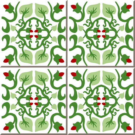 bud: Vintage seamless wall tiles of flower bud vine. Moroccan, Portuguese. Illustration