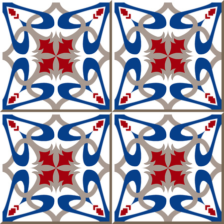 Vintage seamless wall tiles of blue heart kaleidoscope, Moroccan, Portuguese.