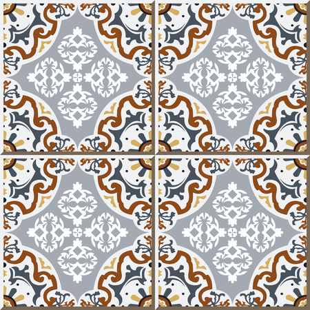 Vintage seamless wall tiles of flower oval kaleidoscope, Moroccan, Portuguese.