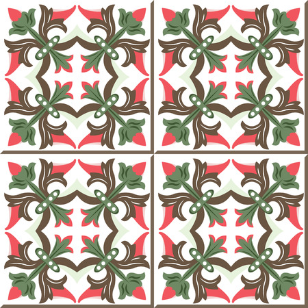 bud: Vintage seamless wall tiles of flower vine bud, Moroccan, Portuguese.