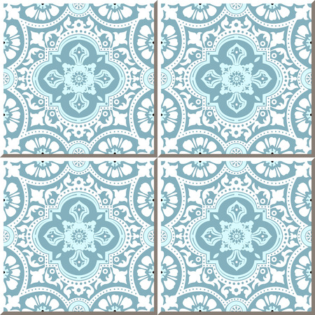 vintage lace: Vintage seamless wall tiles of white lace flower, Moroccan, Portuguese.