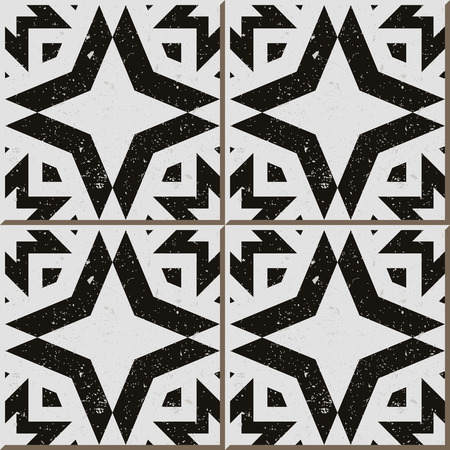 worn out: Vintage seamless wall tiles of worn out black white polygon, Moroccan, Portuguese.