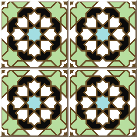 Vintage seamless wall tiles of Islam star geometry, Moroccan, Portuguese. Illustration