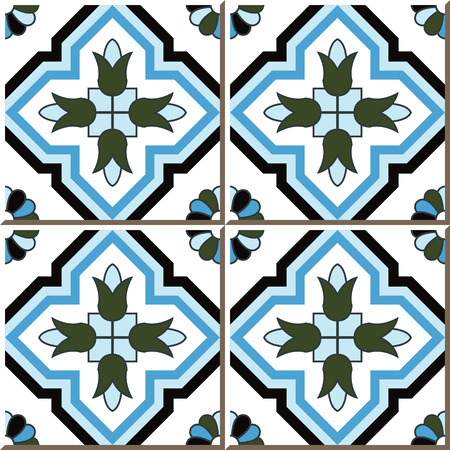Vintage seamless wall tiles of cross blue flower, Moroccan, Portuguese.