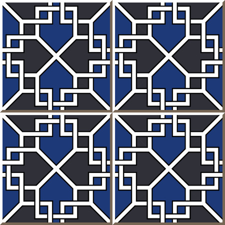 Vintage seamless wall tiles of square cross frame, Moroccan, Portuguese. Illustration