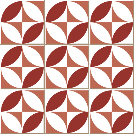 Vintage seamless wall tiles of red round square, Moroccan, Portuguese.