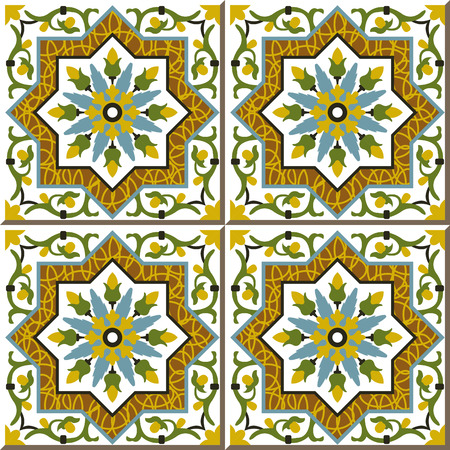natura: Vintage seamless wall tiles of spiral vine flower star, Moroccan, Portuguese.