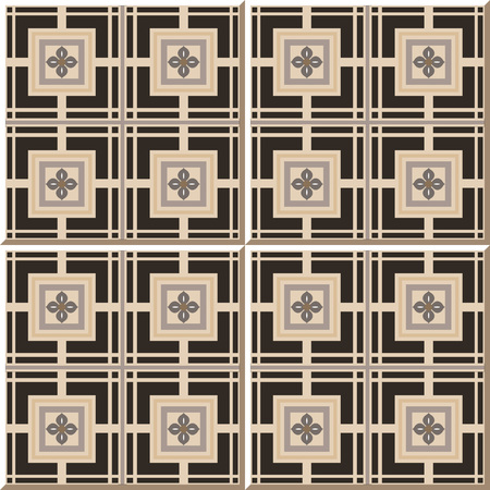 natura: Vintage seamless wall tiles of square cross flower, Moroccan, Portuguese. Illustration