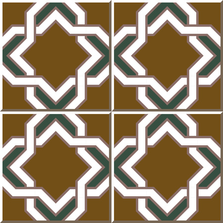 seamless tile: Vintage seamless wall tiles of star cross geometry frame, Moroccan, Portuguese. Illustration