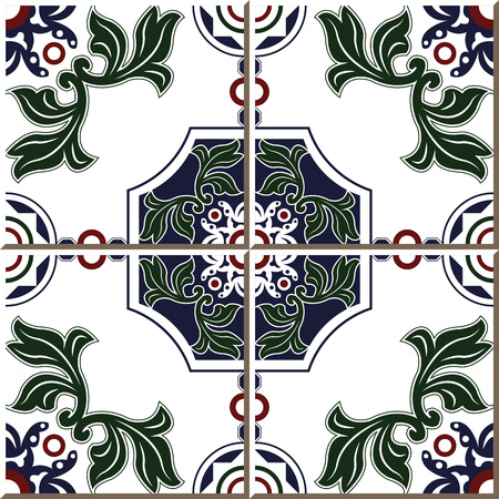 Vintage seamless wall tiles of green leaf round polygon, Moroccan, Portuguese.  イラスト・ベクター素材