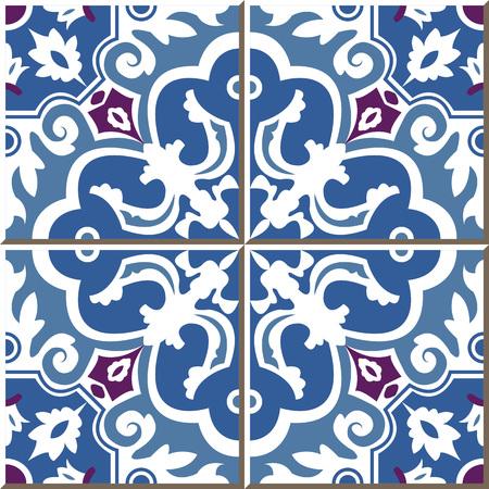blue spiral: Vintage seamless wall tiles of blue spiral flower, Moroccan, Portuguese. Illustration