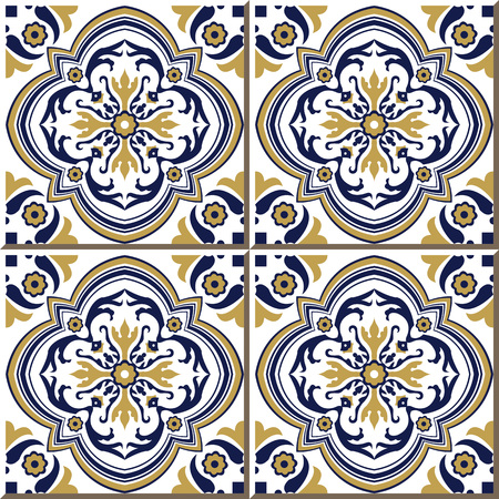 blue spiral: Vintage seamless wall tiles of yellow blue spiral flower, Moroccan, Portuguese.
