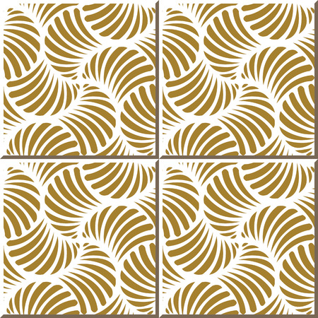 Vintage seamless wall tiles of golden fan seashell, Moroccan, Portuguese.