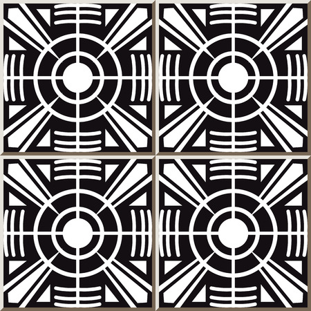 Vintage seamless wall tiles of round cross geometry, Moroccan, Portuguese. Illustration