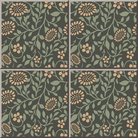 sun flower: Ceramic tile pattern 305_garden spiral leaf sun flower