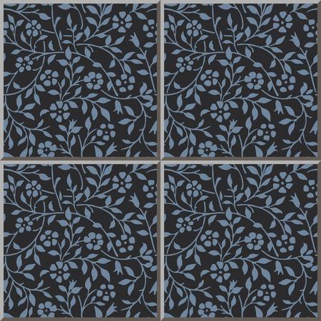 blue spiral: Ceramic tile pattern 308_vintage blue spiral curve flower leaf vine Illustration