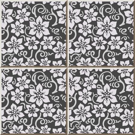 tile pattern: Ceramic tile pattern 312_vintage white flower spiral curve stem Illustration