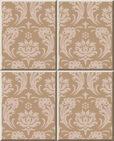 decal: Ceramic tile pattern 322_vintage spiral cross flower leaf decal