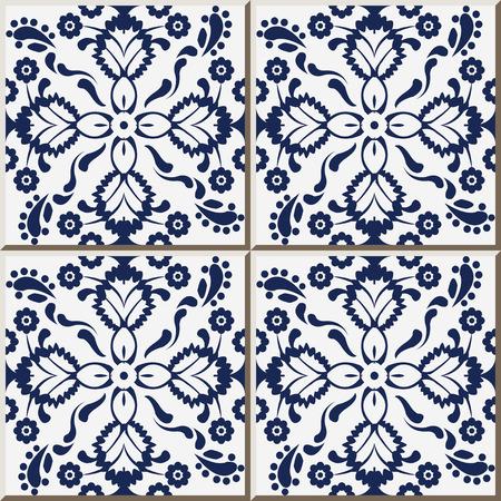 tile pattern: Ceramic tile pattern 324 navy blue cross flower kaleidoscope Illustration