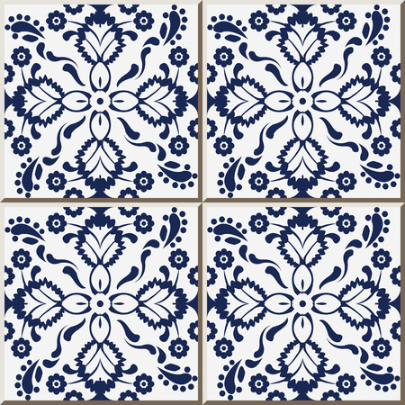 Keramik Fliesenmuster 324 marineblau Kreuz Blume Kaleidoskop Vektorgrafik