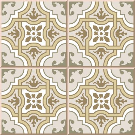 tile pattern: Ceramic tile pattern 373 vintage curve cross geometry frame flower