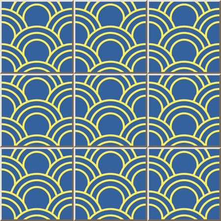 fish scale: Ceramic tile pattern 341 oriental fish scale round curve line Illustration