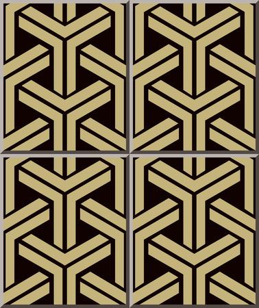 3d triangle: Ceramic tile pattern 376 3D triangle geometry cross frame
