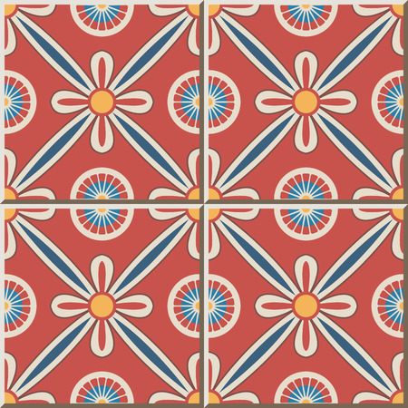 Ceramic tile pattern 483 round cross ribbon flower Illustration