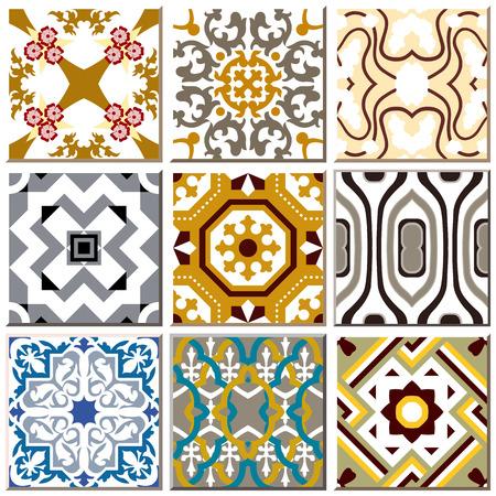 tile pattern: Vintage retro ceramic tile pattern set collection 008