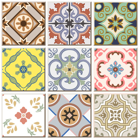 Vintage retro ceramic tile pattern set collection 044
